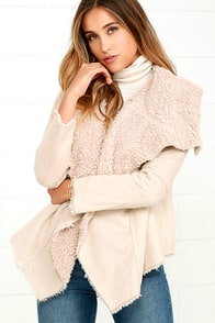 Others Follow Native Roots Beige Sherpa Coat