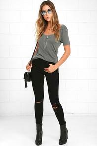 Obey Slasher Black Distressed Ankle Skinny Jeans