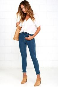 Rollas Eastcoast Medium Wash High-Waisted Ankle Skinny Jeans