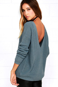 Just For You Slate Blue Backless Sweater 1