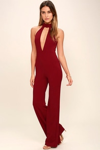 You Light Up My Life Wine Red Jumpsuit