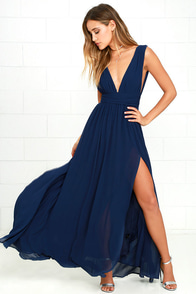 Beautiful Navy Blue Dress - Maxi Dress - Homecoming Dress - $68.00