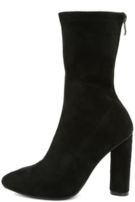 Unbelievably Chic Black Suede High Heel Mid-Calf Boots