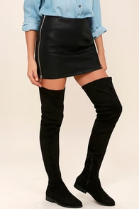 LFL Rank Black Suede Thigh High Boots