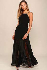 Listen to the Rain Black Lace Maxi Dress