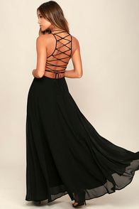 Strappy to be Here Black Maxi Dress