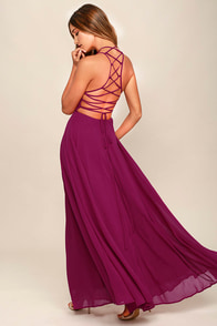 Strappy to be Here Magenta Maxi Dress
