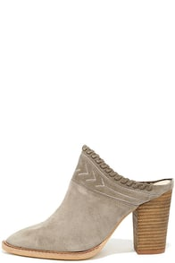 Chinese Laundry Nikki Grey Suede Leather Mules