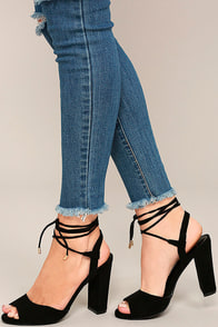Elle Black Suede Lace-Up Heels Image
