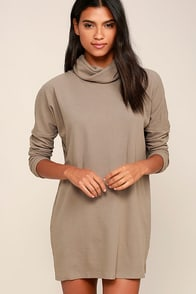 Scheme of Things Taupe Long Sleeve Dress
