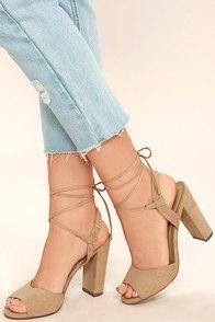 Elle Natural Suede Lace-Up Heels