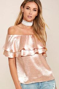 Time to Shimmer Blush Pink Satin Off-the-Shoulder Top