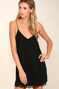 Clock Strikes Twelve Black Lace Slip Dress