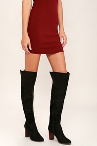 Report Akayla Black Suede Over the Knee Boots