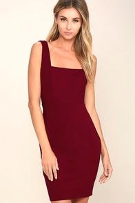 Square Cute Burgundy Bodycon Dress