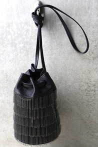 Gatsby Black Fringe Mini Bucket Bag