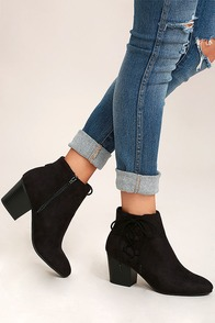 Treat You Right Black Suede Ankle Booties
