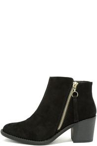 Crisp Air Black Suede Ankle Booties Image