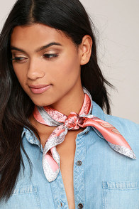 Out of Sight Coral Pink Floral Print Silk Bandana