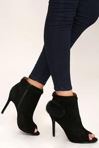 Fierce Fashionista Black High Heel Peep Toe Booties