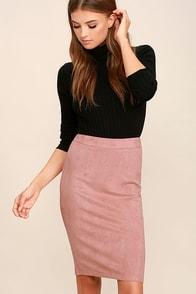 Superpower Blush Suede Pencil Skirt