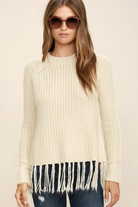 Fair Weather Fringe Cream Knit Sweater