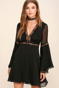 Spell Check Black Lace Long Sleeve Dress