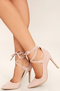 Looking Good Nude Suede Lace-Up Heels Image