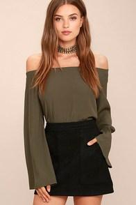 Simply Perf Black Suede Mini Skirt