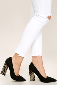 Glamorous Good to Glow Black Suede Pumps Image