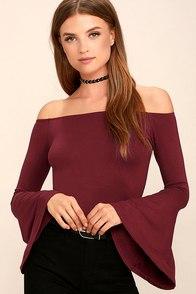 Flirt Factor Wine Red Off-the-Shoulder Top