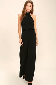 Moment for Life Black Halter Jumpsuit