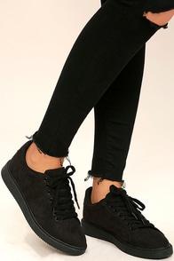 Skater Girl Black Suede Sneakers