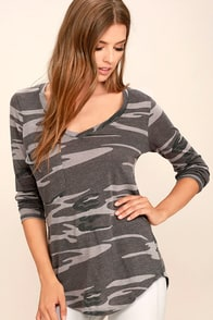 Rank and Style Grey Camo Print Long Sleeve Top
