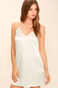 Heavenly Ascent Cream Satin Slip Dress at Lulus.com!