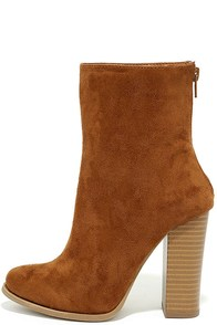 Life's Luxuries Tan Suede Mid-Calf High Heel Boots