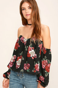 In Your Arms Black Floral Print Off-the-Shoulder Top