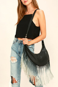 Run Like the Wind Black Fringe Crossbody Bag