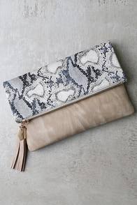 Wink and Kiss Beige Clutch