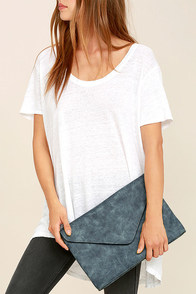 Classically Composed Slate Blue Clutch