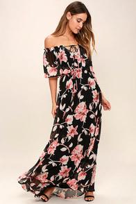Infinite Love Black Floral Print Off-the-Shoulder Maxi Dress
