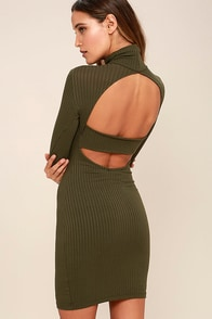 Party Goer Olive Green Long Sleeve Bodycon Dress