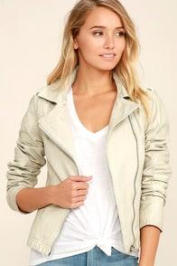 Black Swan Bella Beige Vegan Leather Moto Jacket