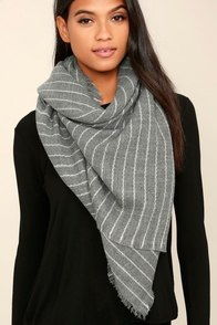 Beyond Love's Limits Grey Striped Scarf
