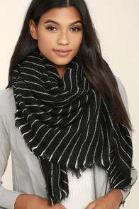 Beyond Love's Limits Black Striped Scarf