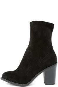 Opt In Black Suede High Heel Mid-Calf Boots
