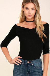Feeling Free Black Off-the-Shoulder Top