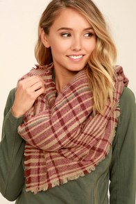 Falling Leaves Burgundy Plaid Scarf