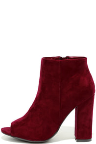 Means So Much Burgundy Suede Peep-Toe Booties