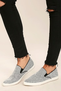 Step to It Black and White Slip-On Sneakers Image